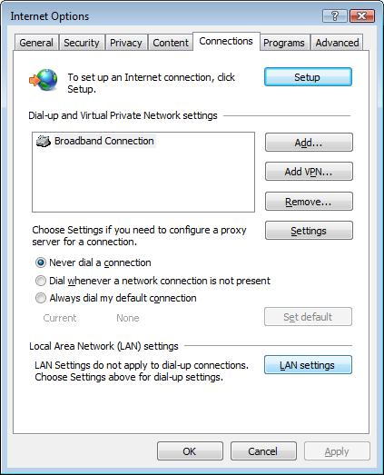 Connections and LAN Settings