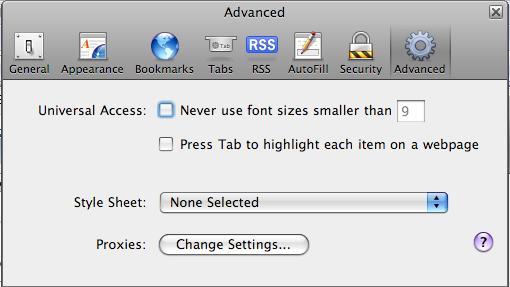Image showing Advanced > Proxies window in Safari