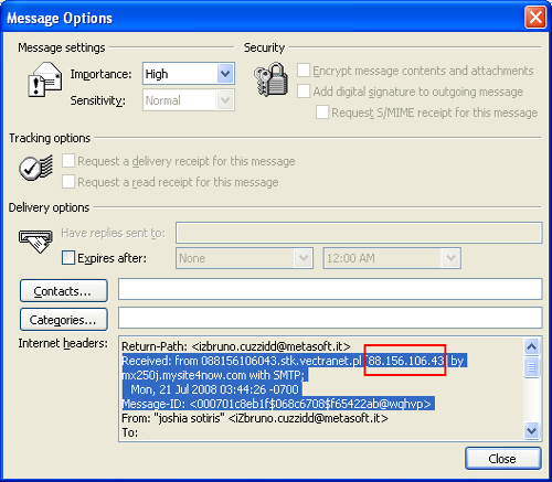 Find IP address email sender Microsoft Outlook - Outlook headers