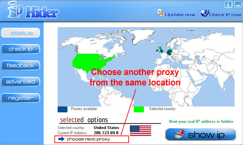 IP Hider 4.0 Choose Next Proxy