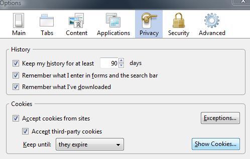 Fox delete cookie options