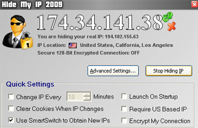 Hide My IP 2009 Main