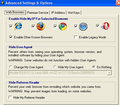 Hide My IP 2009 Settings