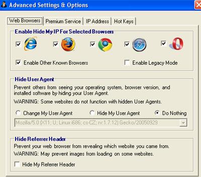 Hide My IP 2009 Settings