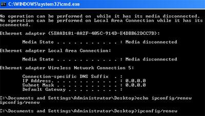 ipconfig renew IP address