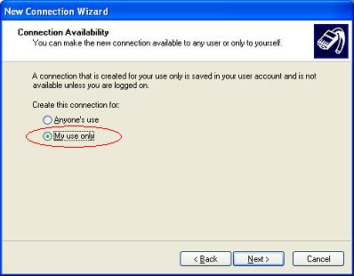 Windows XP VPN - Step 8