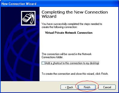 Windows XP VPN - Step 9