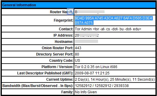 Tor node US details