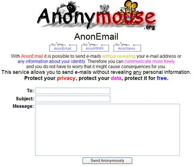 Send anonymous emails - Anonymouse