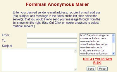 Formmail Anonymous Mailer
