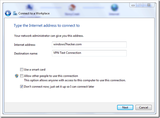 Windows 7 VPN - PPTP Step 3