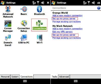 Windows Mobile proxy server