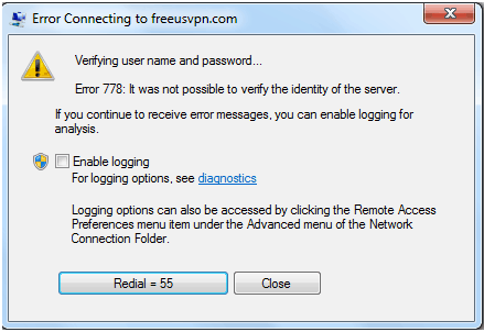 Free VPN Connection - Unable to verify identity error