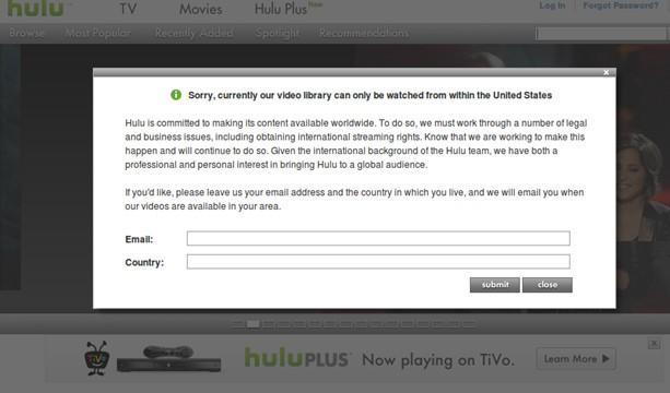 Hulu error message