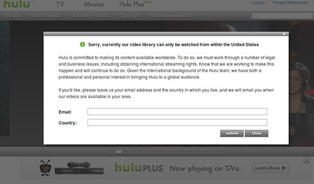 Hulu error message