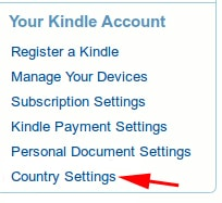 Manage Kindle App Country Settings