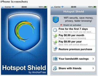 Hotspot Shield iPhone App