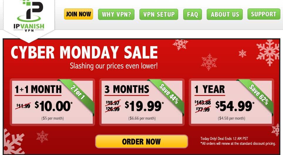 Cyber Monday VPN deals - IPVanish