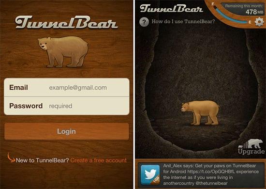 TunnelBear iOS app