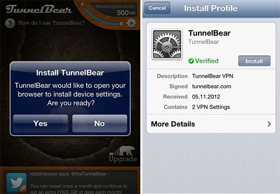 TunnelBear iOS app - Install