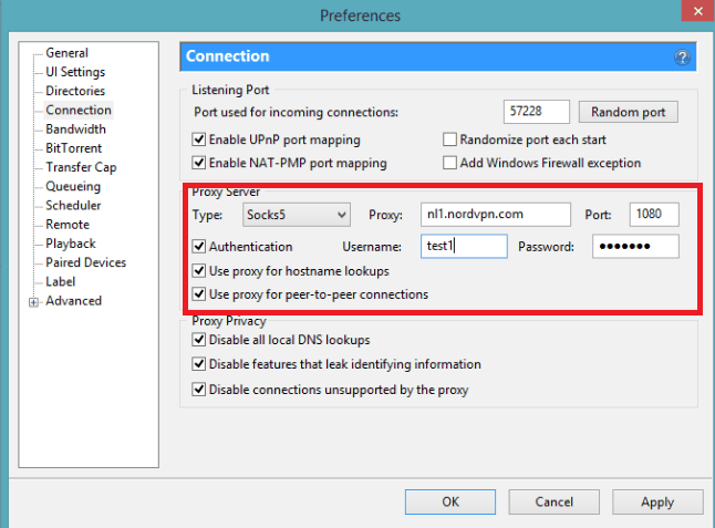 How to configure SOCKS5 VPN on uTorrent