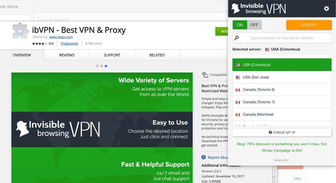 ibVPN Review - Browser extensions (Chrome, Firefox, Opera)