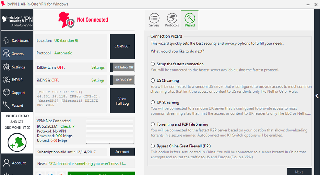ibVPN Review - Windows App - Dashboard