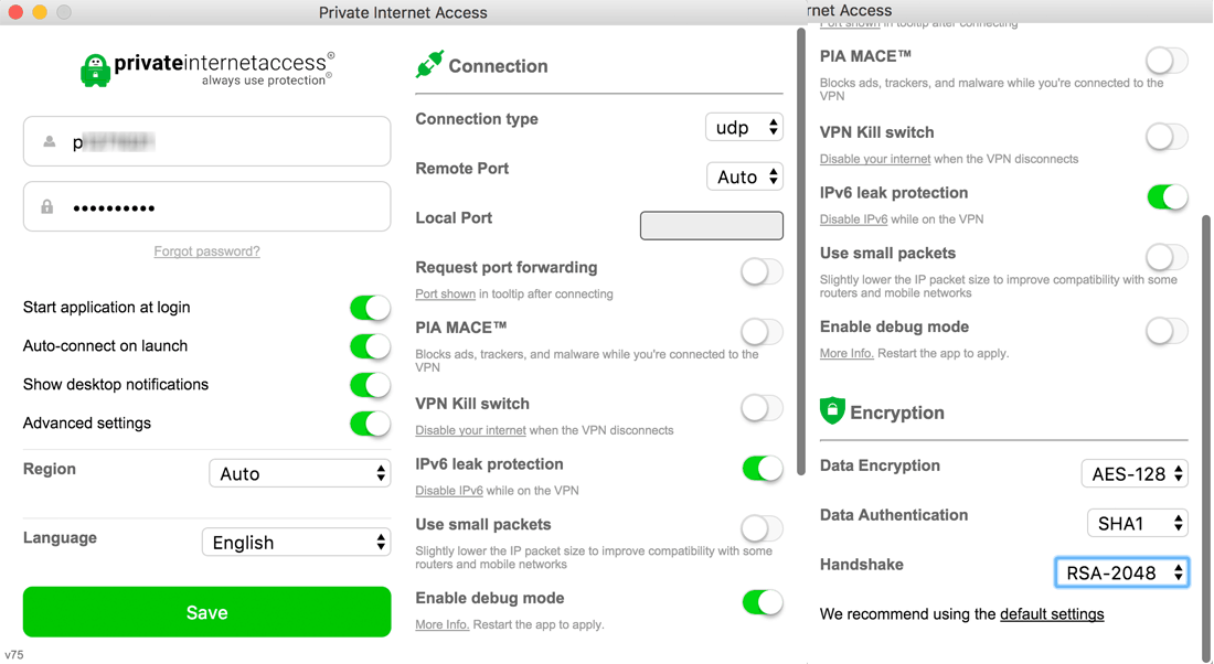 Private Internet Access Review 2018 - MacOS App Dashboard