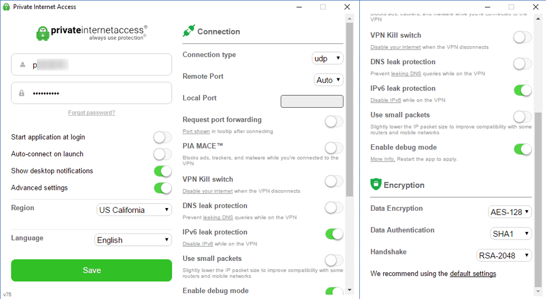 Private Internet Access Review - Windows Application Dashboard