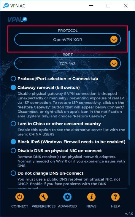 VPN.ac Stealth Protocol - OpenVPN XOR